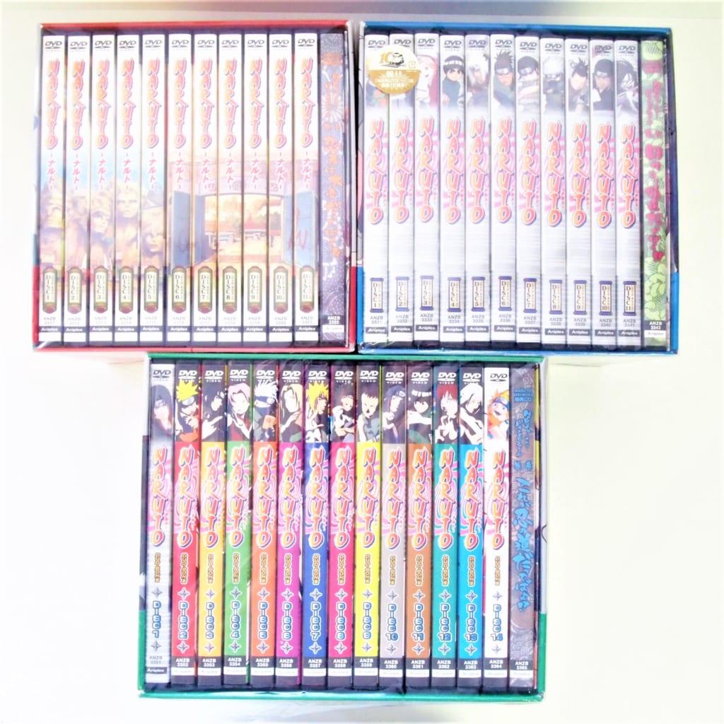 買取したNARUTO DVD-BOX1,2,3セットの背表紙